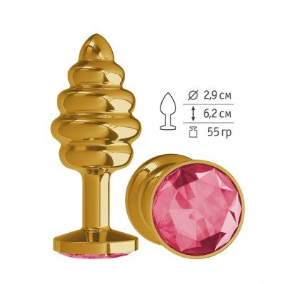 Золотистая пробка Gold Spiral Small с рёбрышками и малиновым кристаллом - 7 см