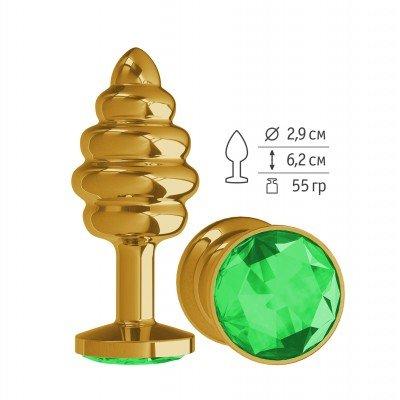 Золотистая пробка Gold Spiral Small с рёбрышками и зелёным кристаллом - 7 см