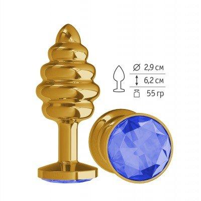 Золотистая пробка Gold Spiral Small с рёбрышками и синим кристаллом - 7 см