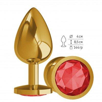 Золотистая анальная пробка Gold Large с красным кристалом - 9,5 см