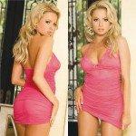 Полупрозрачное розовое платье