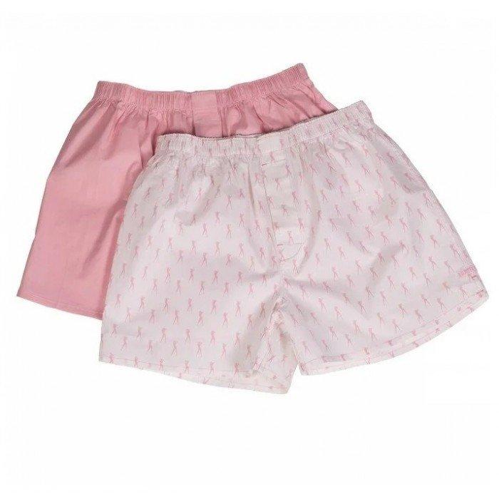 Пара розовых хлопковых мужских трусов-шортов HUSTLER