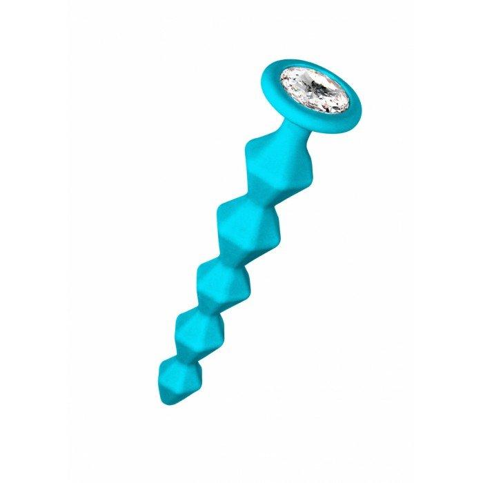 Анальная цепочка Lola Buddy бирюзовая с прозрачным кристаллом - 17,7 см