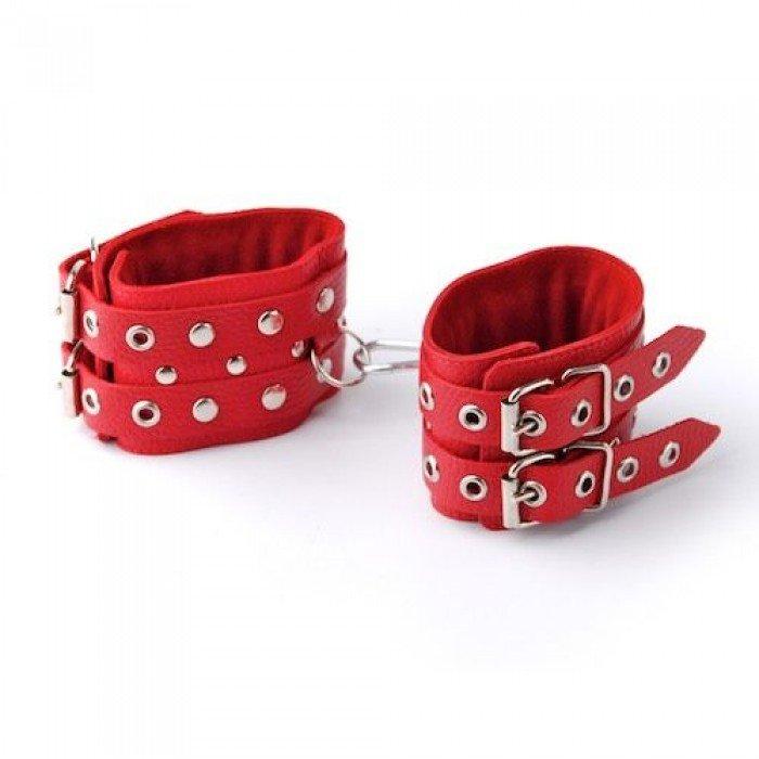 Кожаные наручники Sitabella с двойной застежкой, красные