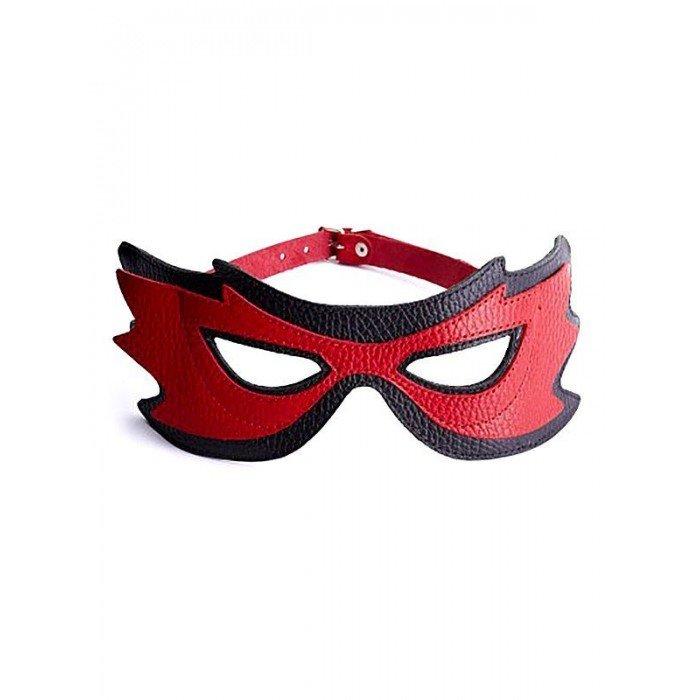 Кожанная маска на глаза с разрезами Sitabella - красно-чёрная