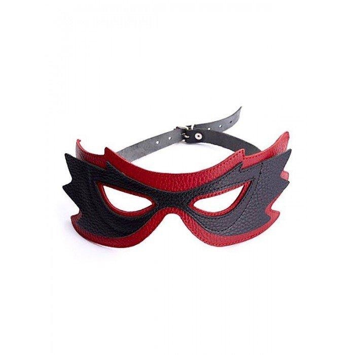 Маска на глаза кожанная Sitabella - чёрно-красная