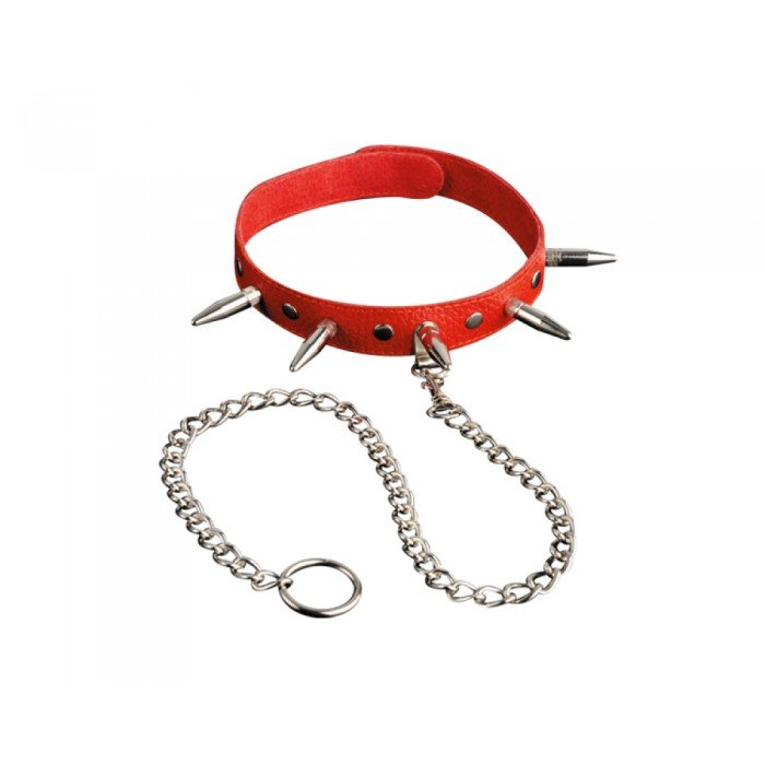 Кожаный красный ошейник с шипами и цепочкой