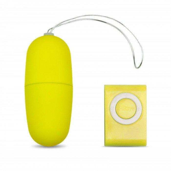 Виброяйцо Джага-Джага с беспроводным пультом управления - желтое - 7 см