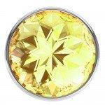 Анальная металлическая пробка Diamond Sparkle Small с жёлтым кристаллом - 7 см