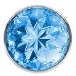 Анальная металлическая пробка Diamond Sparkle Small с голубым кристаллом - 7 см