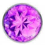 Анальная металлическая пробка Diamond Sparkle Small с фиолетовым кристаллом - 7 см