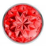 Анальная металлическая пробка Diamond Sparkle Small с красным кристаллом - 7 см