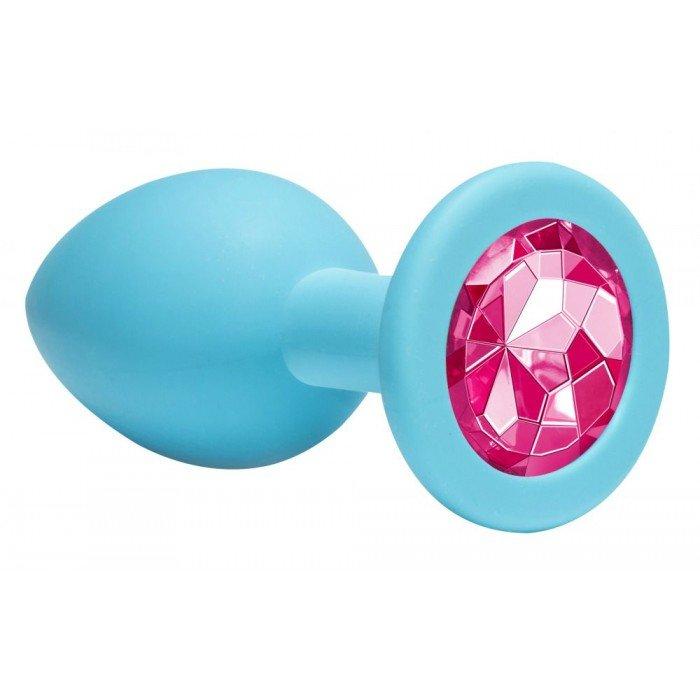 Средняя голубая анальная пробка Emotions Cutie Medium с розовым кристаллом - 8,5 см
