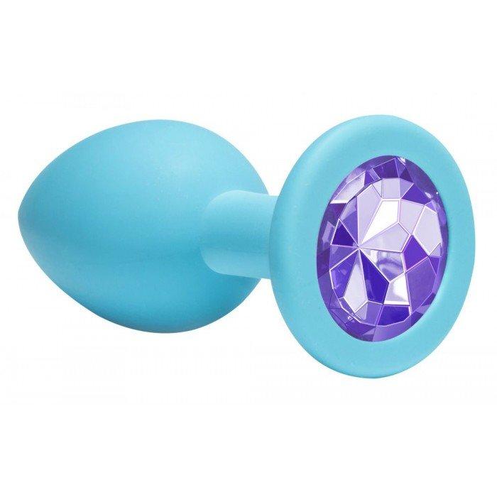 Средняя голубая анальная пробка Emotions Cutie Medium с фиолетовым кристаллом - 8,5 см