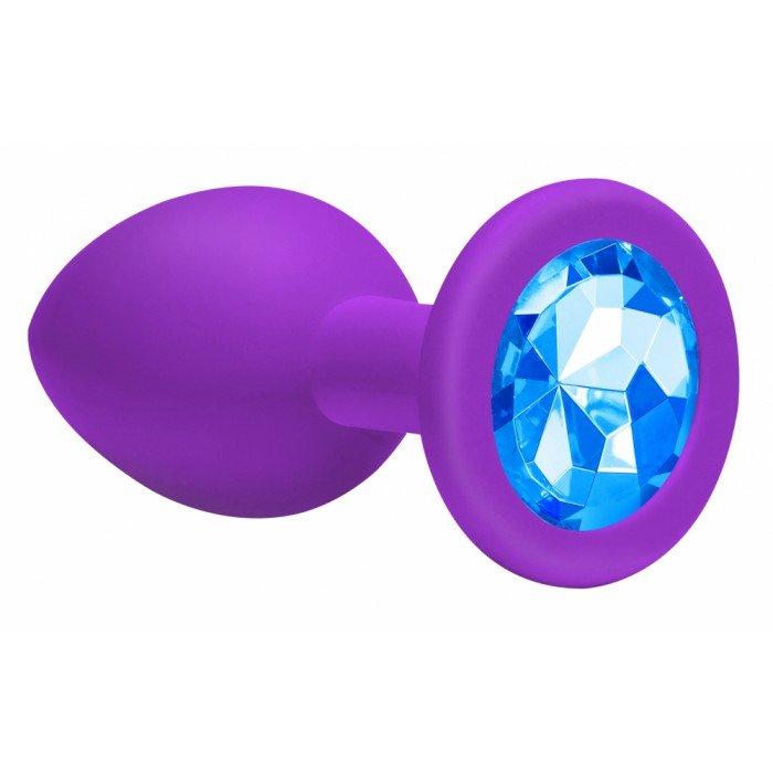 Большая фиолетовая анальная силиконовая пробка Emotions Cutie Large Purple light blue crystall с голубым кристаллом - 10 см