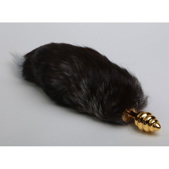 Анальная золотистая металлическая пробка 4sexdreaM - Королевская Лиса с чёрным хвостом