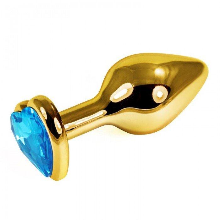 Анальная металлическая пробка Gold Small с голубым кристаллом сердцем - 7 см
