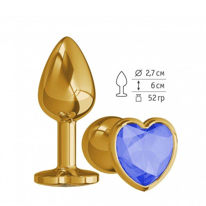 Анальная металлическая пробка Gold Small с синим кристаллом сердцем - 7 см