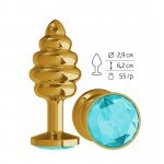 Золотистая пробка Gold Spiral Small с рёбрышками и голубым кристаллом - 7 см