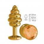 Золотистая пробка Gold Spiral Small с рёбрышками и оранжевым кристаллом - 7 см