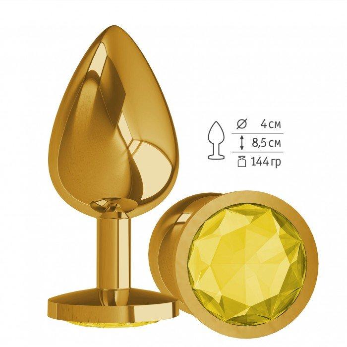 Золотистая анальная пробка Gold Large с жёлтым кристалом - 9,5 см