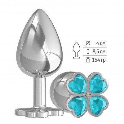 Серибристая анальная пробка Silver Large Клевер с голубым кристалом - 9,5 см