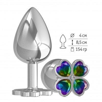 Серибристая анальная пробка Silver Large Клевер с разноцветным кристалом - 9,5 см