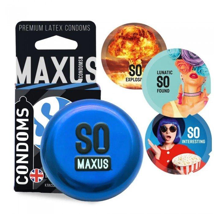 Презервативы в железном кейсе классические MAXUS Classic - 3 штуки