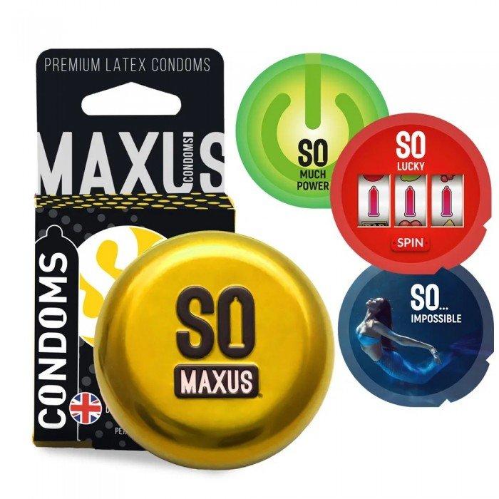 Презервативы в железном кейсе точечно-ребристые MAXUS Special - 3 штуки