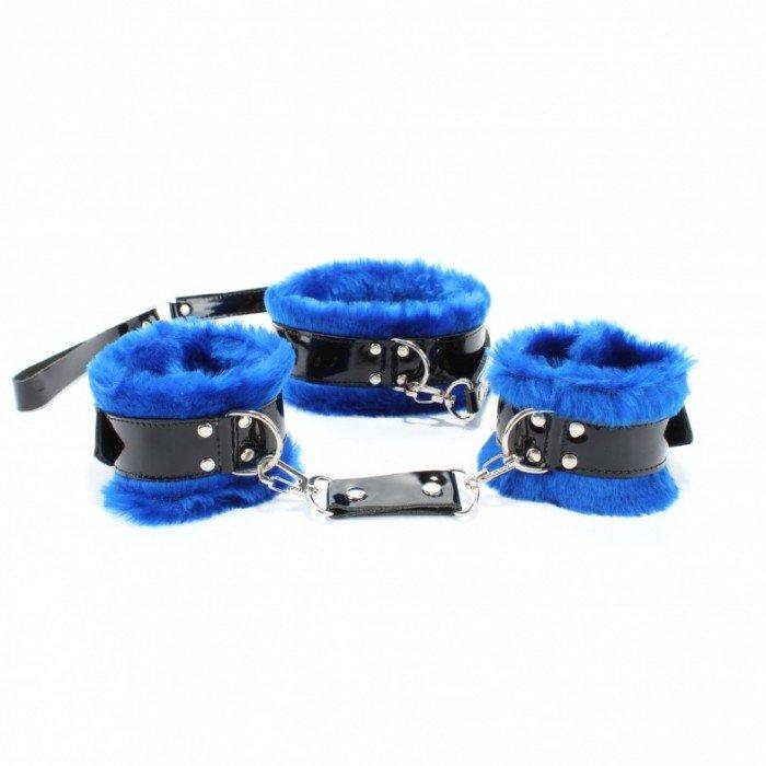 Набор BDSM Light из наручников и ошейника с поводком - синий