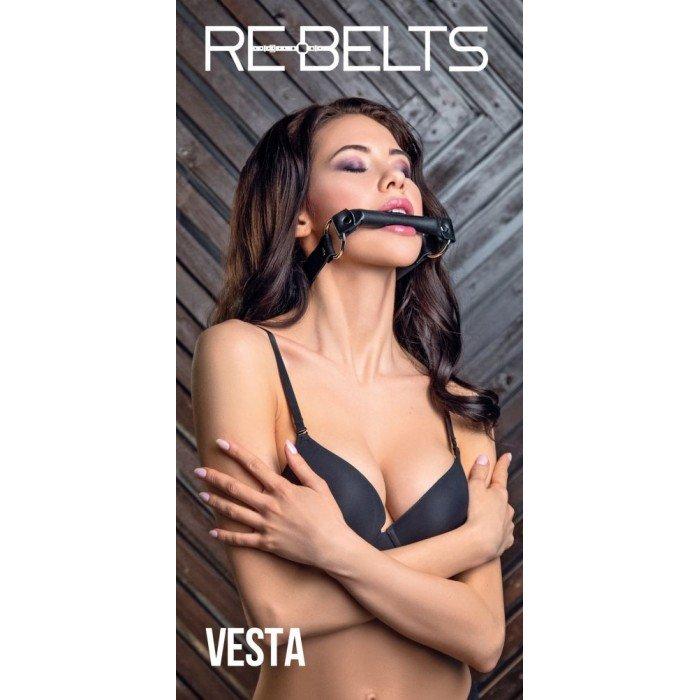 Кляп-трензель Vesta Black с металлическими кольцами