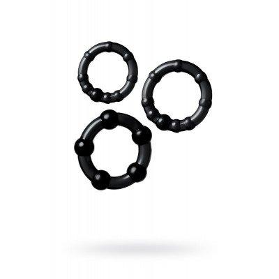 Набор из 3 чёрных эрекционных колец A-toys с разным рельефом