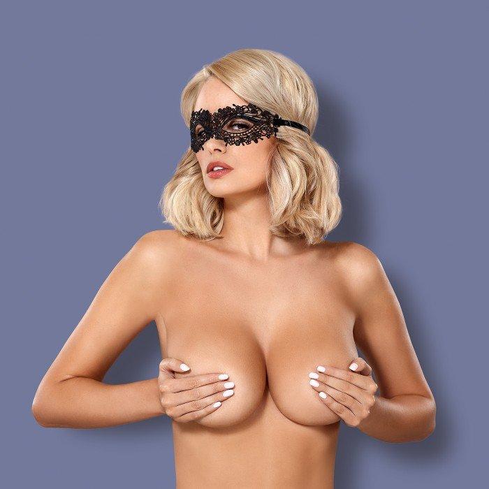 Ажурная маска на глаза на завязках Obsessive A710 - черная