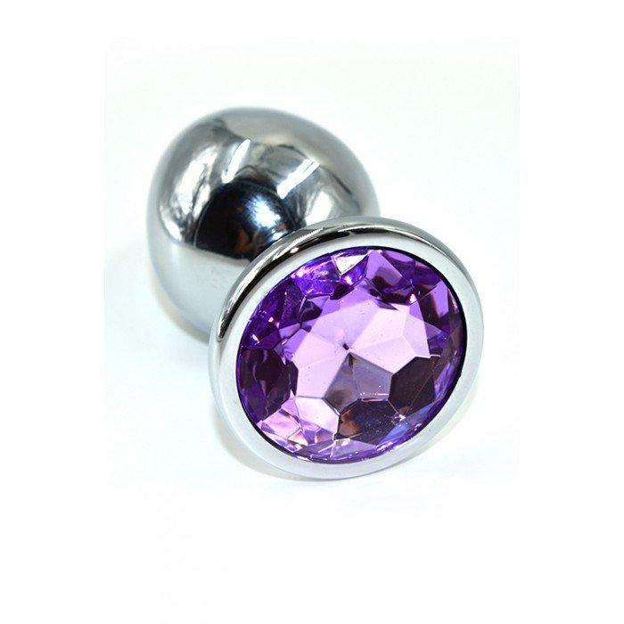 Алюминиевая анальная серебристая пробка Kanikule Large с фиолетовым кристаллом - 8 cм
