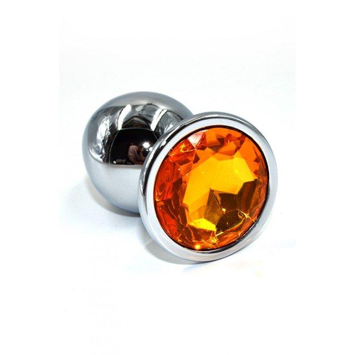 Алюминиевая анальная серебристая пробка Kanikule Large с жёлтым кристаллом - 10 cм