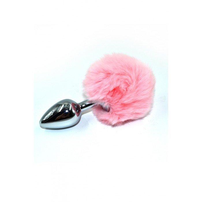 Анальная пробка из аллюминия с розовым заячьим хвостом Kanikule Small Silver