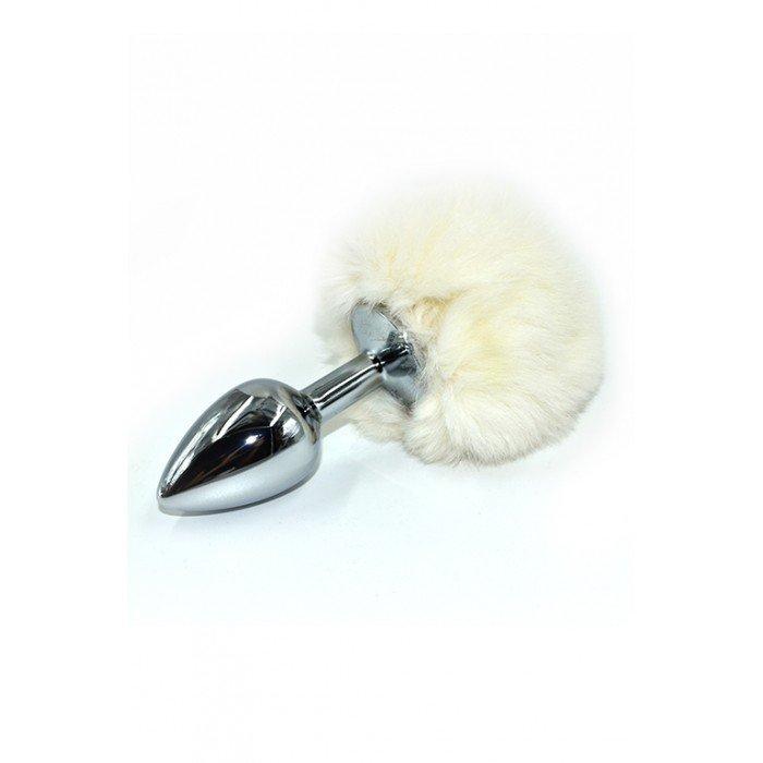 Анальная пробка из аллюминия с белым заячьим хвостом Kanikule Small Silver