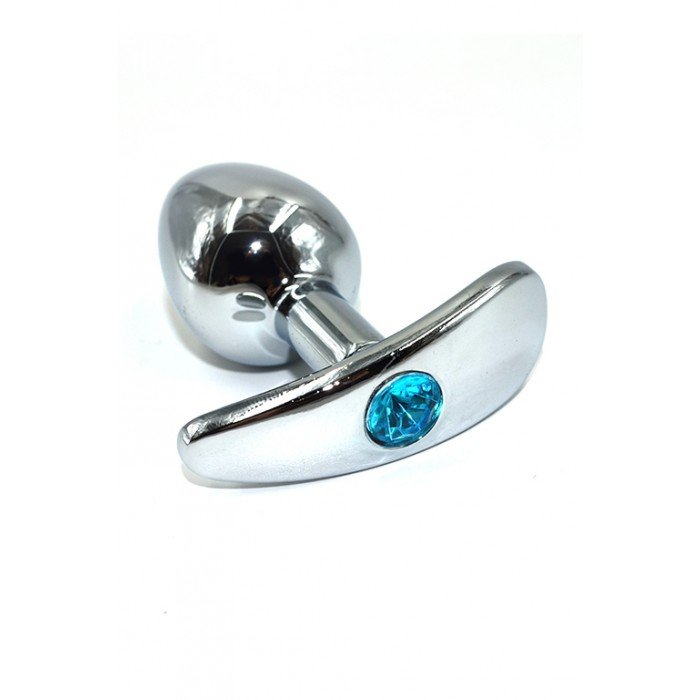 Анальная металлическая пробка Kanikule c голубым кристаллом - 8 см