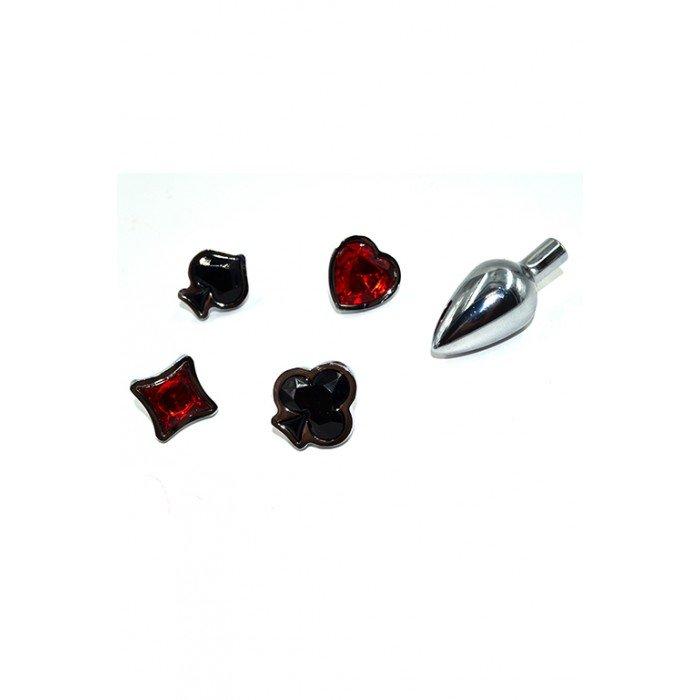 Анальная металлическая пробка с 4-мя кристаллами в форме карточных мастей Kanikule - 7,6 см