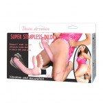 Безременной страпон-вибратор Super Strapless Dildo с вагинальным и анальным стимуляторами - розовый