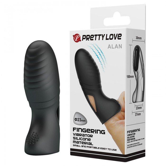 Вибратор-стимулятор на палец из силикона Pretty Love Alan - черный