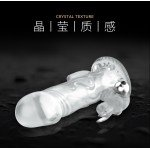 Brave Man вибронасадка со стимуляцией клитора и ануса - прозрачная - 12 см