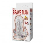 Вибро-насадка удлинитель Brave Man со стимуляторами клитора и ануса - прозрачная - 14 см