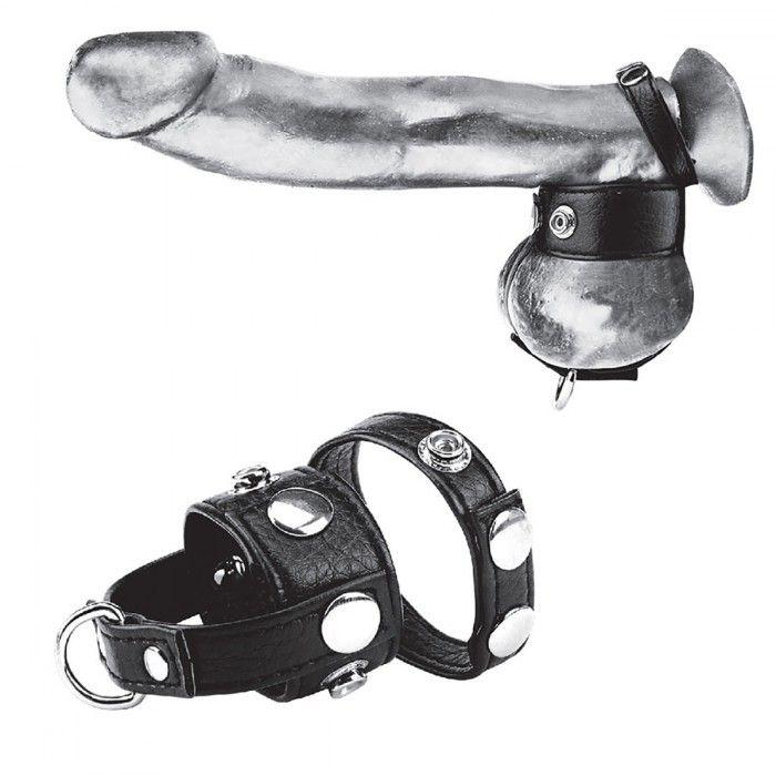 Кожаный болстретчер на кнопках с кольцом для грузов BlueLine - чёрный