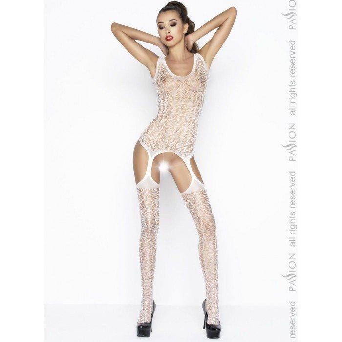 Ажурный бодистокинг-комбинезон с открытыми бёдрами и узором в виде листиков Passion Erotic Line - белый