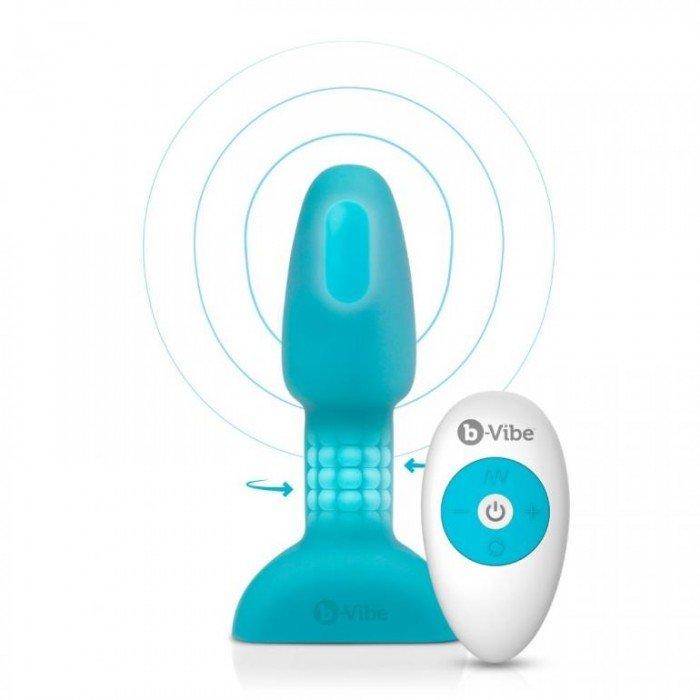 Анальный плаг с римминг эффектом и мотором в головке Rimming Plug Petite - голубой - 12,4 см
