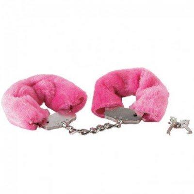 Металлические наручники, обшитые розовым мехом