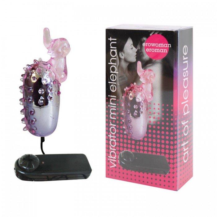 Виброяйцо с клиторальным отростком Vibrator Mini Elephant с проводным пультом