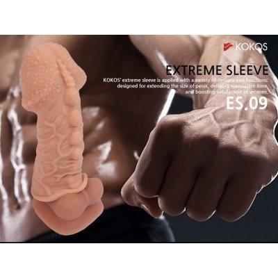 Насадка на фаллос с увеличенной головкой и шишечками Cock Extreme Sleeve размера М - 14,7 см
