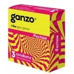 Презервативы анатомической формы с точечной и ребристой структурой Ganzo Extase - 3 шт
